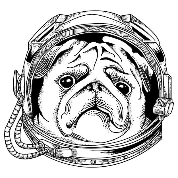 Ilustration astronaut dog premium Vettore Premium