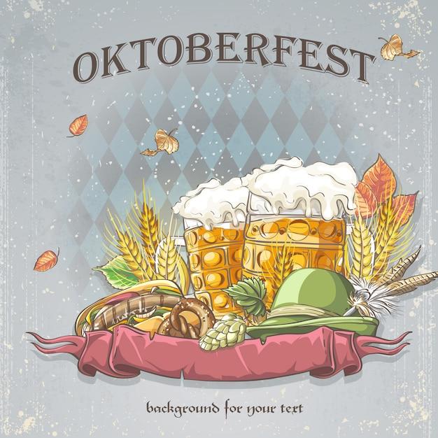 Immagine di uno sfondo celebrativo oktoubest i boccali di birra, luppolo, coni e foglie d'autunno. Vettore Premium