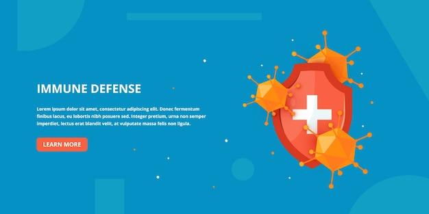 Banner di difesa immunitaria in stile cartone animato. Vettore Premium
