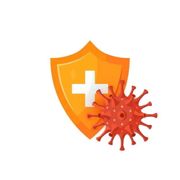 Concetto di difesa immunitaria. scudo medico con un coronavirus sferico. per infografiche, banner web, poster. Vettore Premium