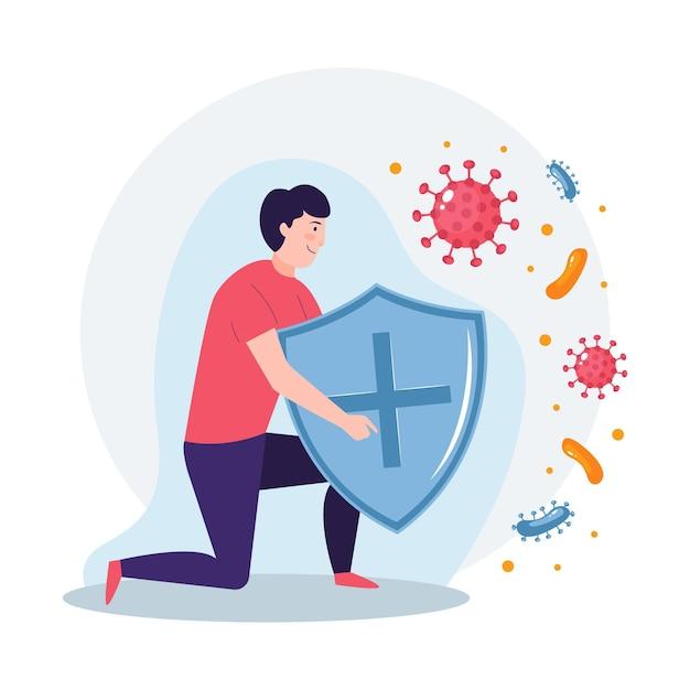 Concetto di sistema immunitario con uomo e scudo Vettore Premium