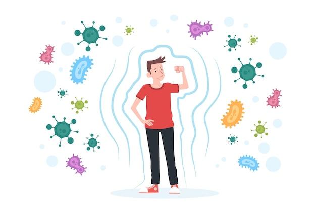Concetto di sistema immunitario con l'uomo Vettore Premium