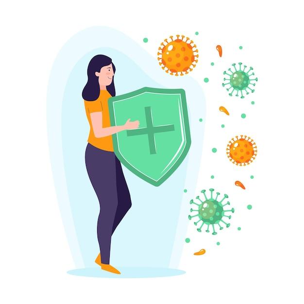 Concetto di sistema immunitario con donna e scudo Vettore Premium