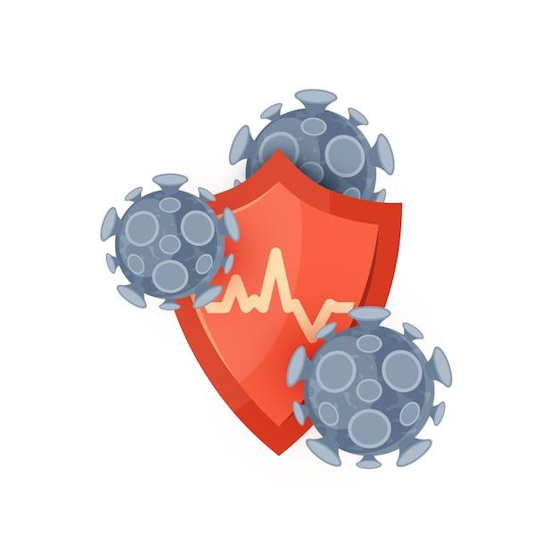 Icona del sistema immunitario. concetto con uno scudo medico rosso ans virus o batteri. isolato su uno sfondo bianco in stile piatto. Vettore Premium