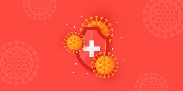 Concetto di immunità. orizzontale medico per cliniche, ospedali, siti web sanitari. Vettore Premium