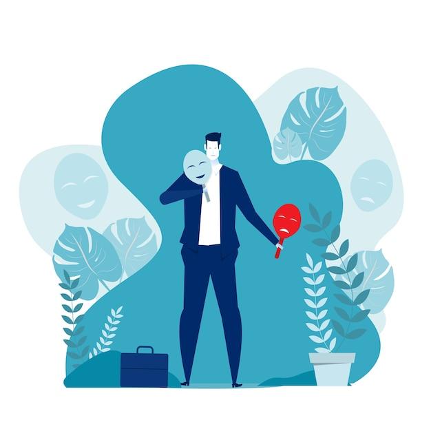 Sindrome dell'impostore, uomo d'affari che prova le maschere di carnevale con espressioni felici o tristi. illustrazione per psicologia, cambiamenti di umore, concetto di personalità. Vettore Premium