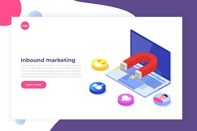 Marketing in entrata, online o autorizzato, generazione di vendite. Vettore Premium