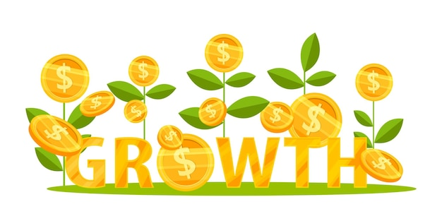 Crescita del reddito o aumento delle entrate concetto di finanza aziendale con piante di monete da un dollaro che salgono. Vettore Premium