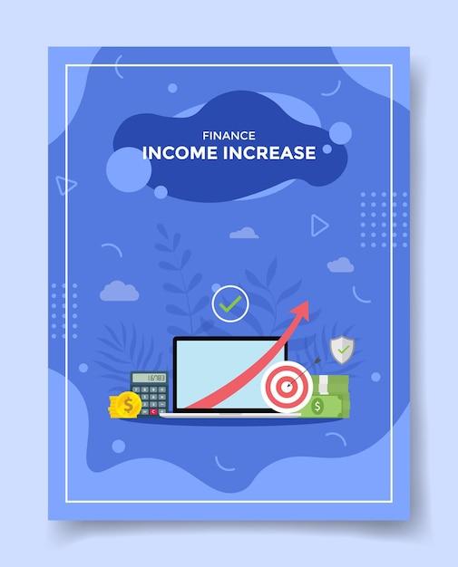 Freccia di aumento del reddito nella moneta dei soldi del calcolatore dello schermo del computer portatile Vettore Premium