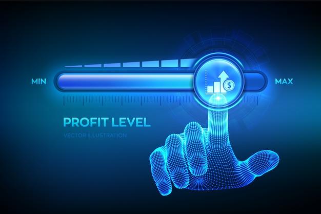 Livello di profitto crescente. la mano si sta avvicinando alla barra di avanzamento della posizione massima con l'icona del profitto. Vettore Premium