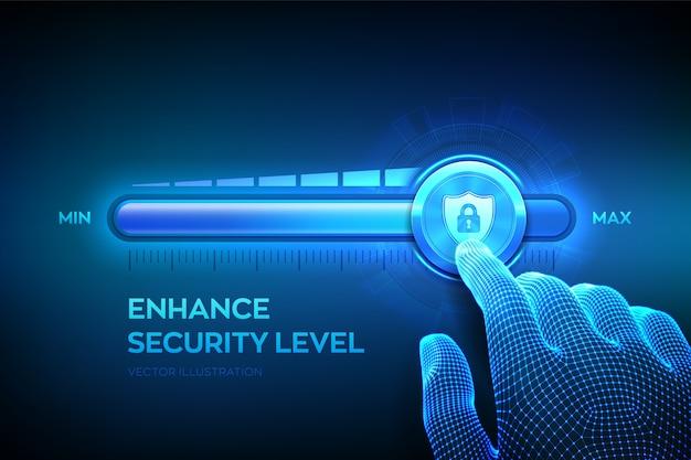 Livello di sicurezza crescente. concetto di sicurezza informatica. la mano wireframe si sta spostando verso la barra di avanzamento della posizione massima con l'icona dello scudo sicuro. migliora il livello di protezione dei dati. Vettore Premium