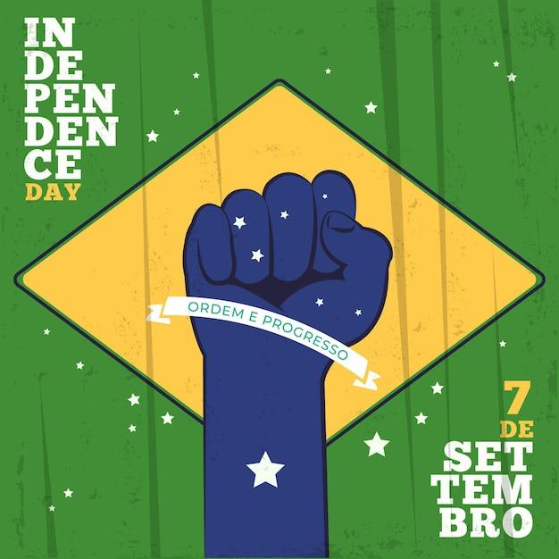 Festa dell'indipendenza del pugno del brasile nell'aria Vettore Premium