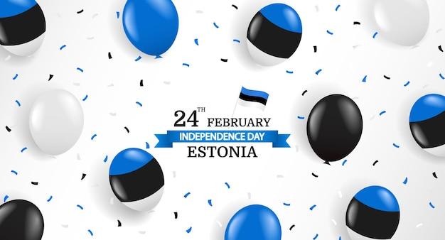 Giorno dell'indipendenza dell'estonia. palloncini e coriandoli. Vettore Premium
