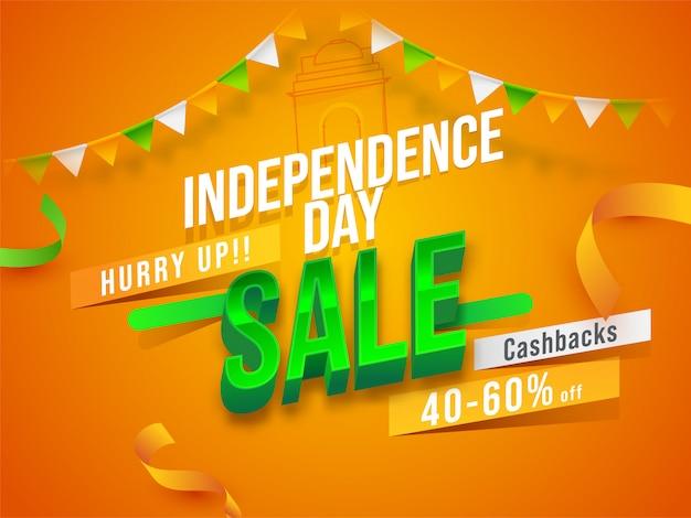 Manifesto e nastri di vendita di giorno di indipendenza su fondo dello zafferano. Vettore Premium