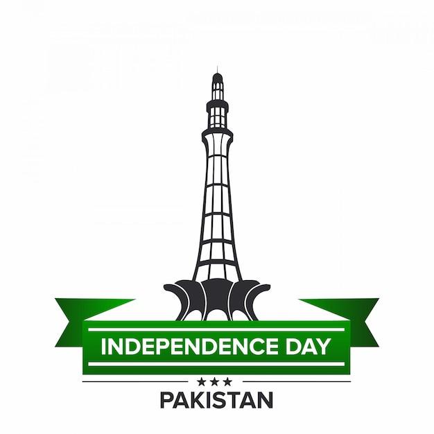 Indipendenza del pakistan con minar e pakistan Vettore Premium