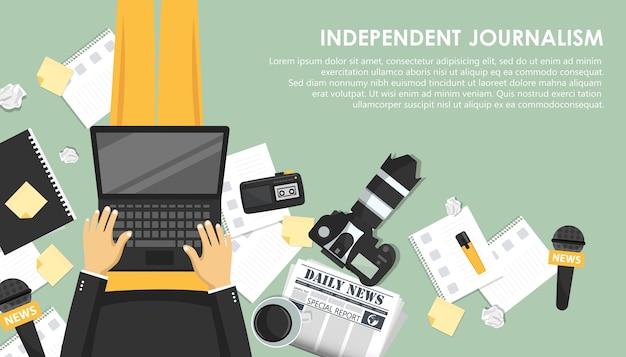 Banner piatto di giornalismo indipendente Vettore Premium