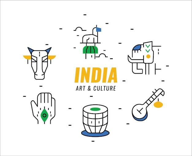 India arte e cultura elementi. elementi lineari sottili. Vettore Premium