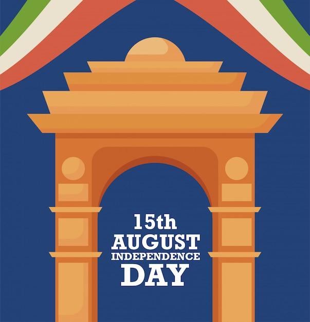 India gate, 15 agosto giorno dell'indipendenza Vettore Premium