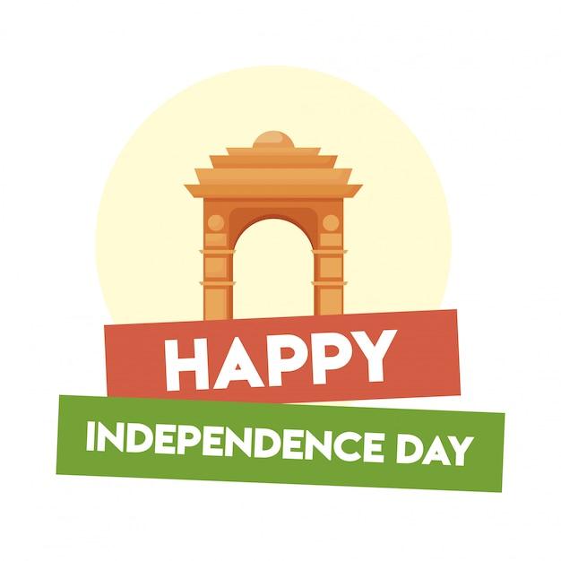 India gate, felice giorno dell'indipendenza Vettore Premium