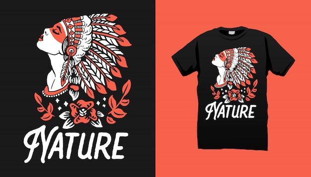 Design tshirt donna apache indiano Vettore Premium