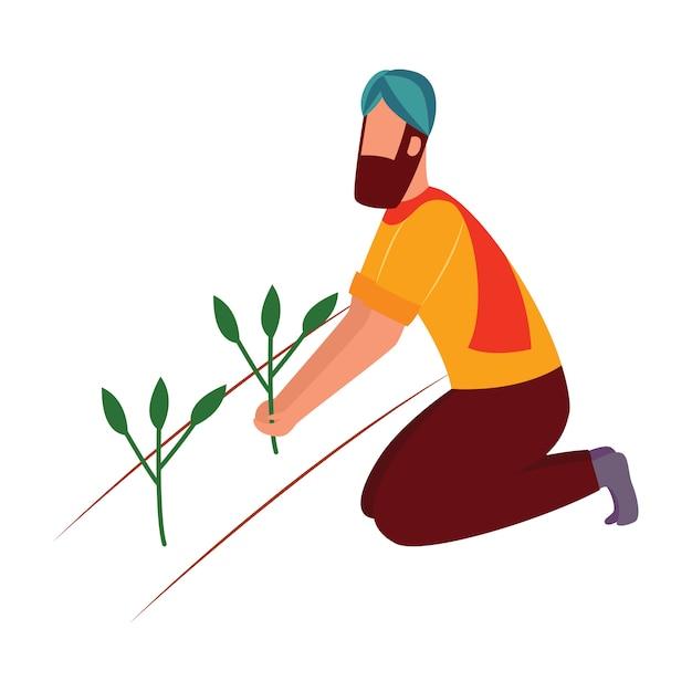 Uomo indiano del coltivatore che si inginocchia e che tiene lo stile del fumetto della pianta del raccolto Vettore Premium