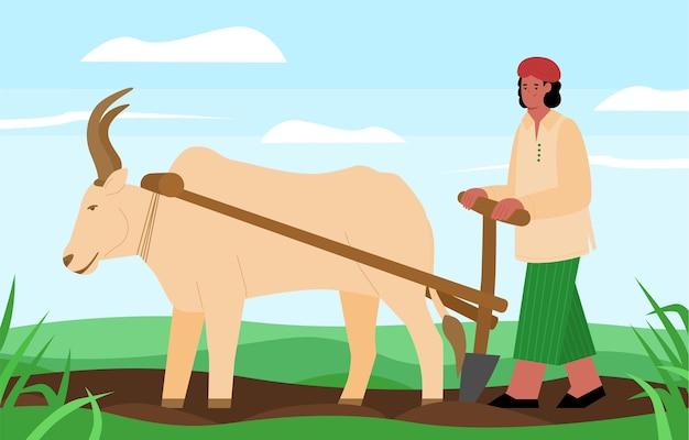 Il coltivatore indiano ara il campo con l'aratro del bue tirato Vettore Premium