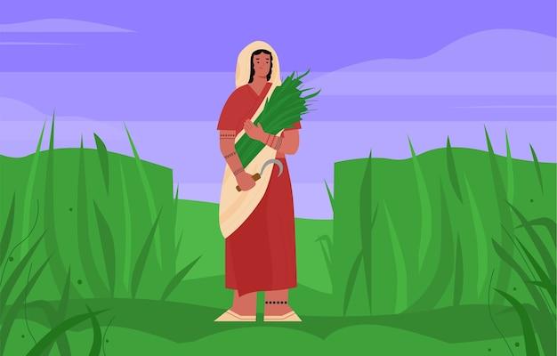 Donna indiana contadina in sari con una falce in mano Vettore Premium