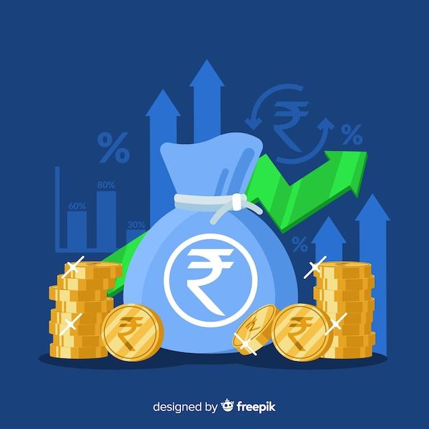 Concetto di investimento rupia indiana Vettore Premium