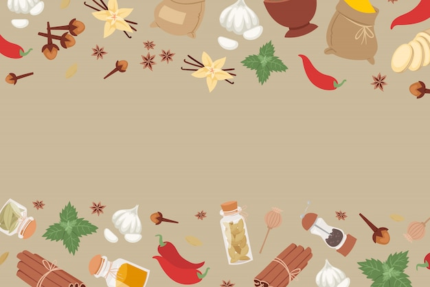 Le spezie e le erbe indiane dall'india aromatizzano l'ingrediente per l'insegna dei condimenti dell'alimento. Vettore Premium
