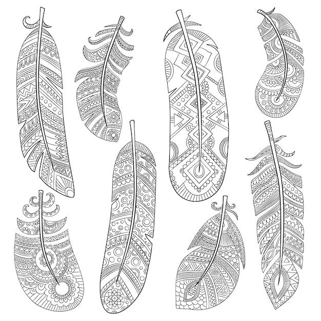 Piume tribali indiane. adatti il modello monocromatico di vettore delle piume d'annata del modello americano azteco dell'uccello Vettore Premium