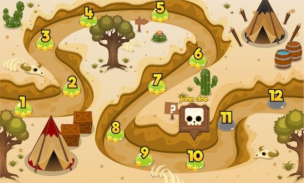 Mappa del livello di gioco delle tribù indiane Vettore Premium
