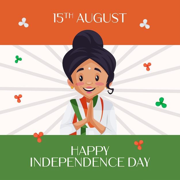 Indian giovane ragazza in posa di benvenuto su sfondo bandiera indiana augurando felice giorno dell'indipendenza Vettore Premium