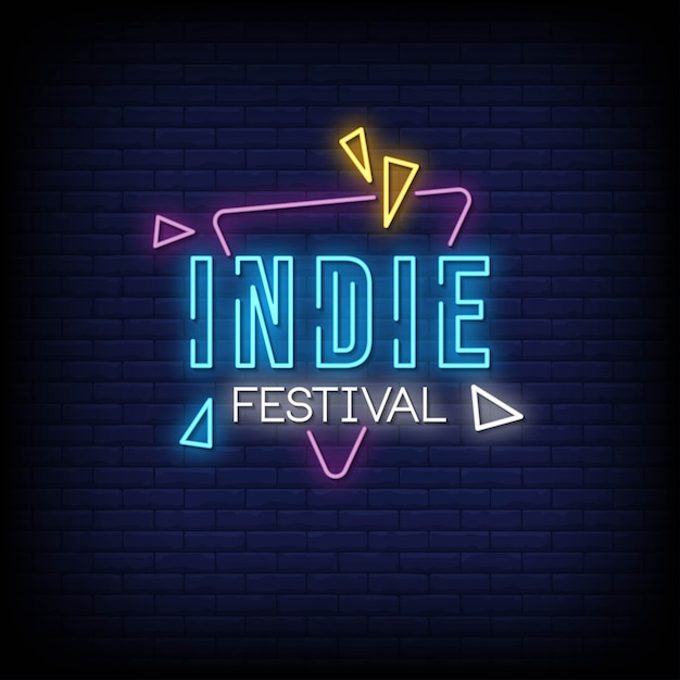 Indie festival neon signs style text Vettore Premium