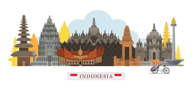 Monumenti di skyline di indonesia Vettore Premium