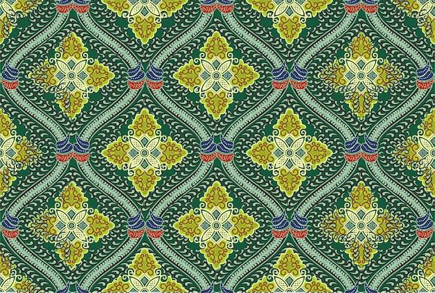 Motivo batik indonesiano in moderni design colorati Vettore Premium