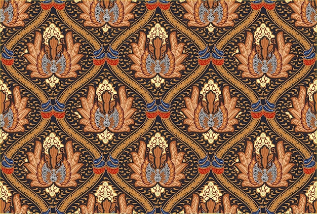 Motivo batik indonesiano in moderni design colorati Vettore Premium