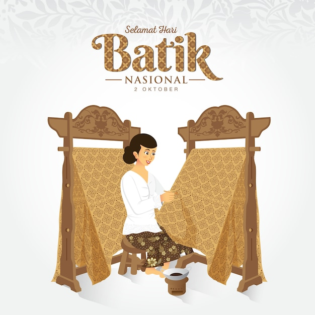 Illustrazione indonesiana della festa del batik. Vettore Premium