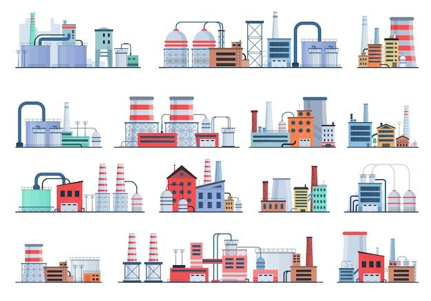 Concetto di edificio industriale eco style factory city landscape Vettore Premium