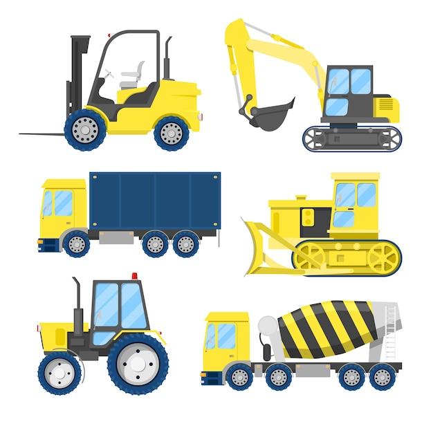 Trasporto di costruzioni industriali con camion e trattore. Vettore Premium