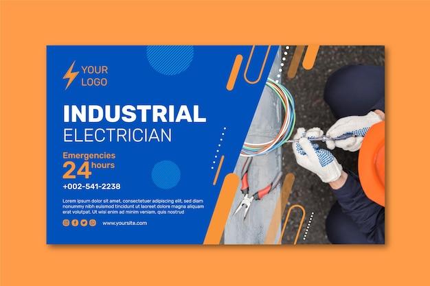 Design di banner per elettricisti industriali Vettore Premium