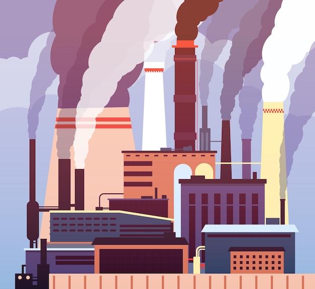 Inquinamento industriale. ambiente inquinato, smog tossico industriale, inquinamento atmosferico di tubi di fumo di fabbrica. Vettore Premium