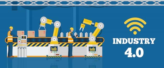 Concetto di industria 4.0, linea di produzione automatizzata con i lavoratori. Vettore Premium