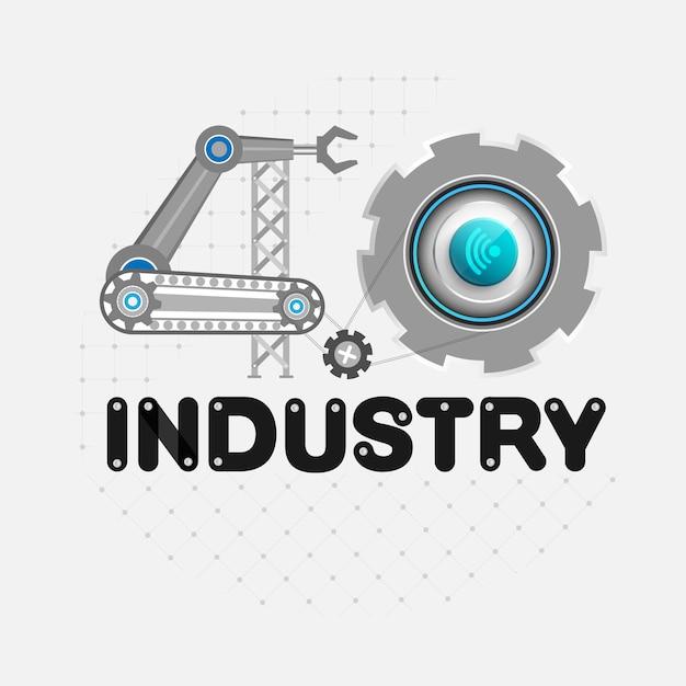 Concetto di industria 4.0 di business industriale Vettore Premium