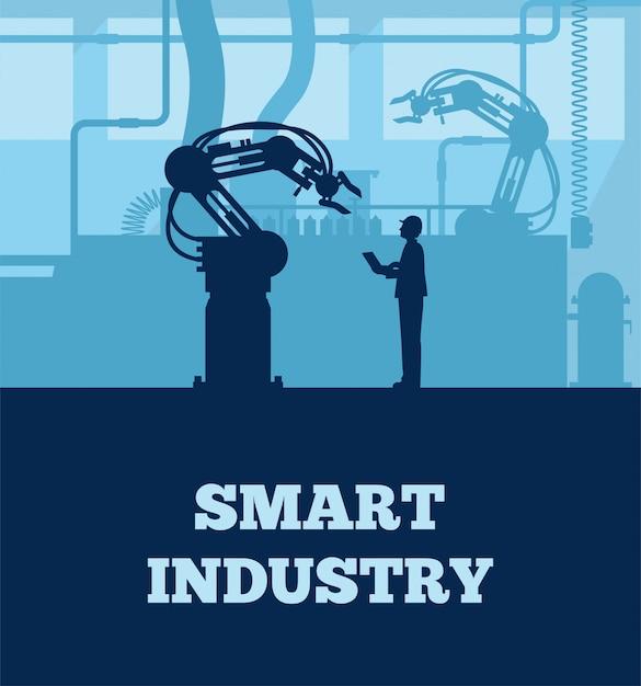 Concetto di industria 4.0, silhouette della linea di produzione automatizzata con lavoratore. Vettore Premium