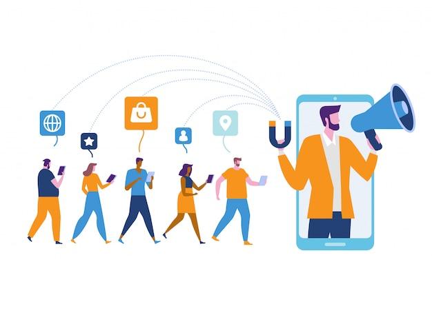 Influencer marketing. potenziali acquirenti di prodotti Vettore Premium