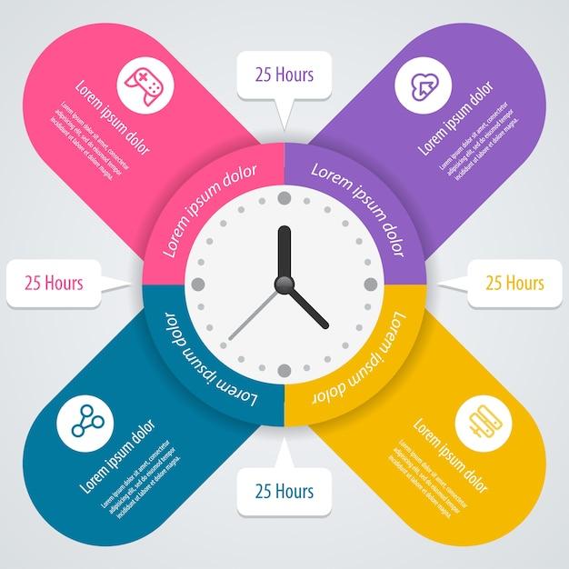 Infografica. può essere utilizzato per layout del flusso di lavoro, banner, diagramma, opzioni numeriche, opzioni di incremento, web. . Vettore Premium