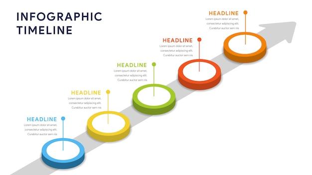 Elementi di infografica per passaggi, sequenza temporale, flusso di lavoro Vettore Premium