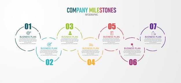 Illustrazione infografica può essere utilizzato per processi, presentazioni, layout, banner, grafico informativo ci sono 7 passaggi o livelli. Vettore Premium