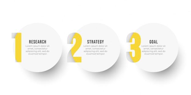 Modello di progettazione etichetta infografica con opzioni cerchio e numero. concetto di business con 3 passaggi o processi. Vettore Premium