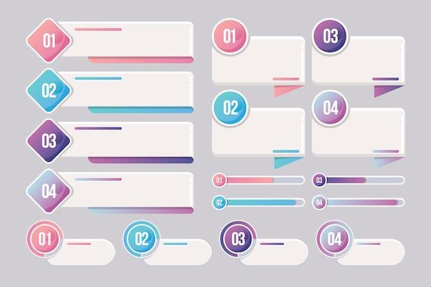 Collezione di elementi in stile infografica Vettore Premium
